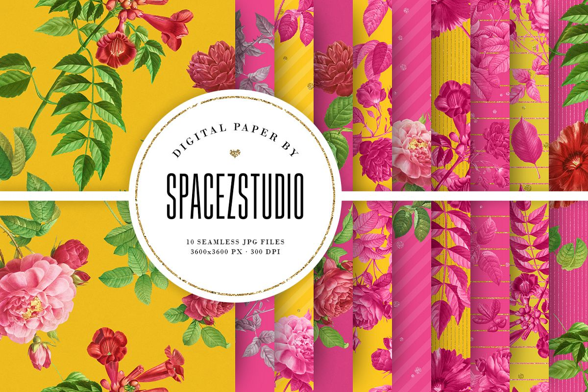Bright Yellow & Pink Vintage Floral Seamless Patterns example image 1