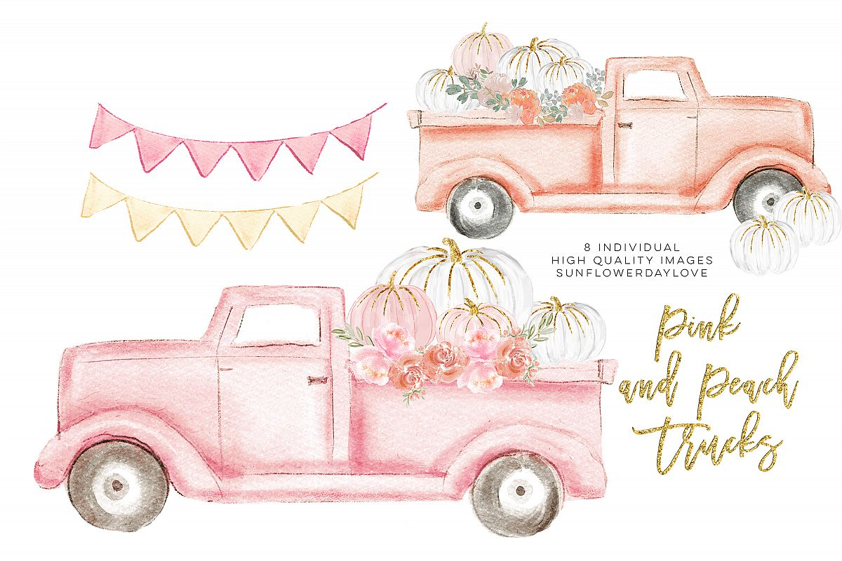 Autumn Truck, pink Pumpkin Harvest Truck example image 1