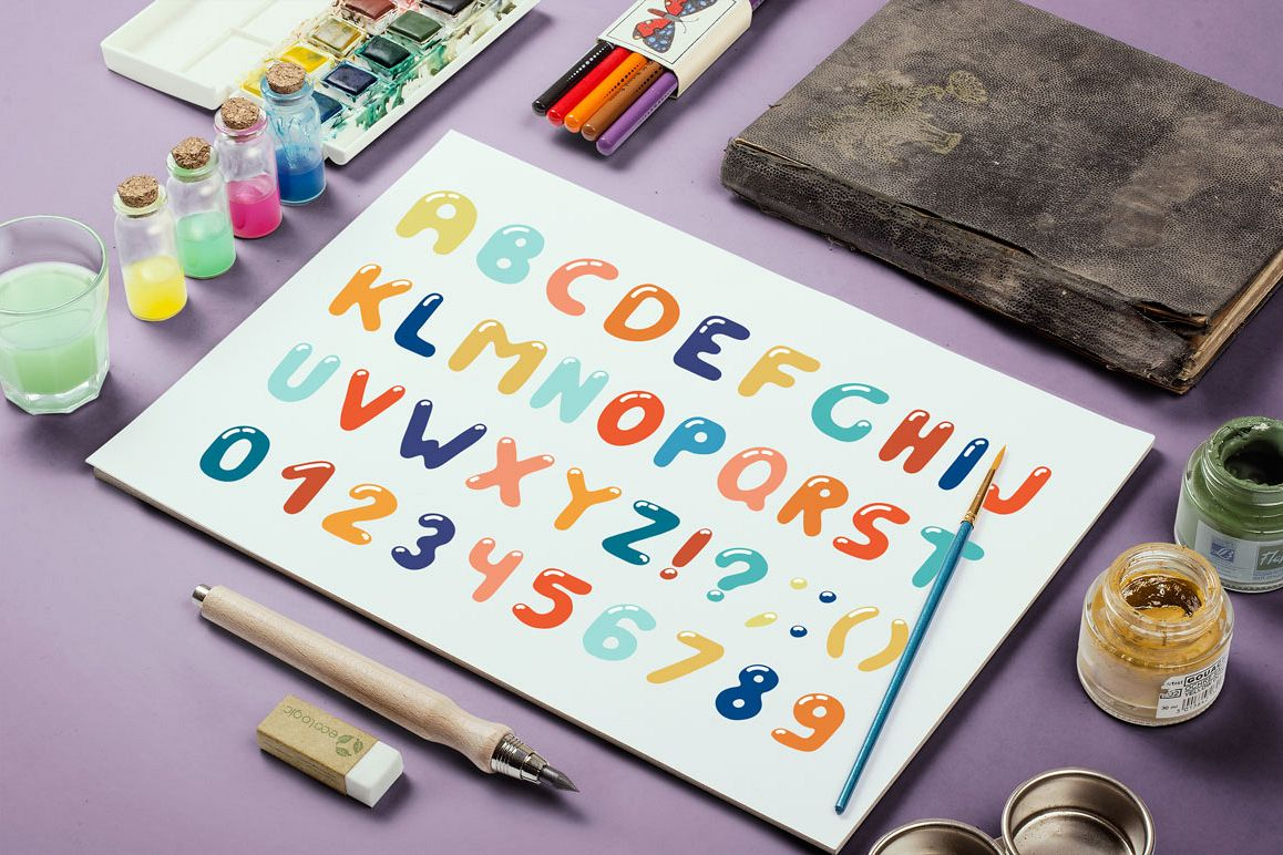 Colorful alphabet in doodle style example image 1