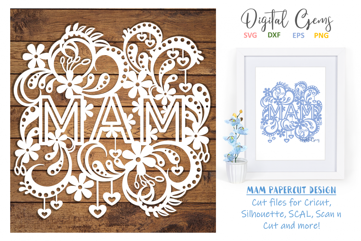 Mam paper cut design SVG / DXF / EPS files example image 1