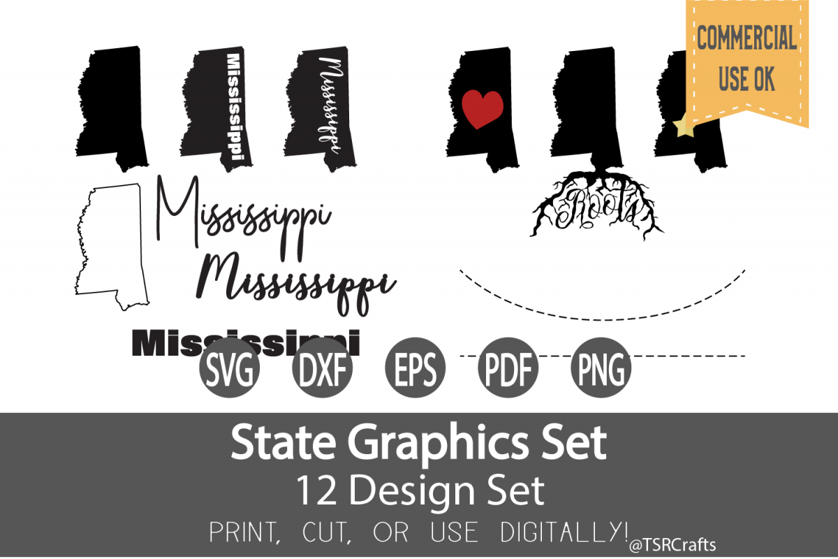 Mississippi State Graphics Set - Clip Art and Digital Cut example image 1