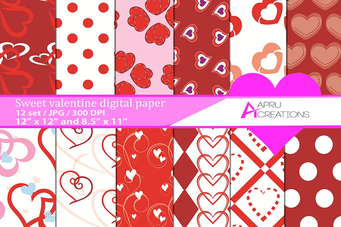 valentine day pattern, valentine day digital papers,  valentine heart pattern, digital papers, hearts 300 dpi, 12 x 12 inch , and 8.5 x 11 inch example image 1