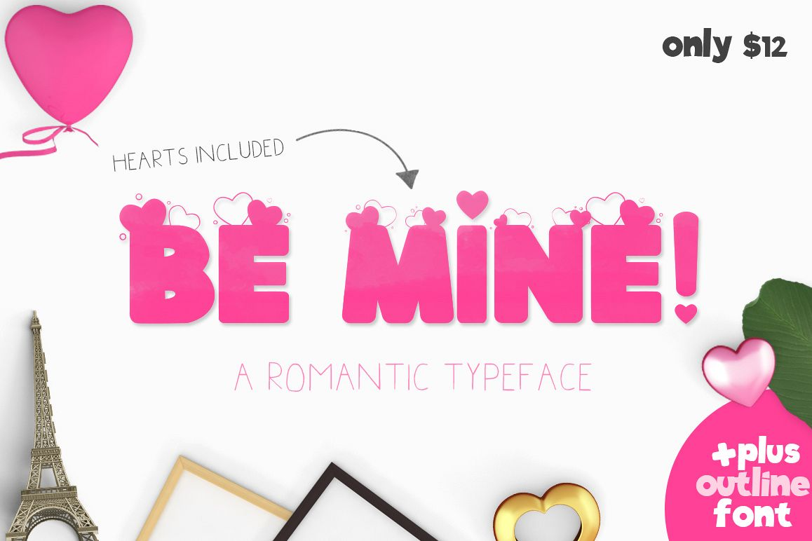 Be Mine Heart Font example image 1