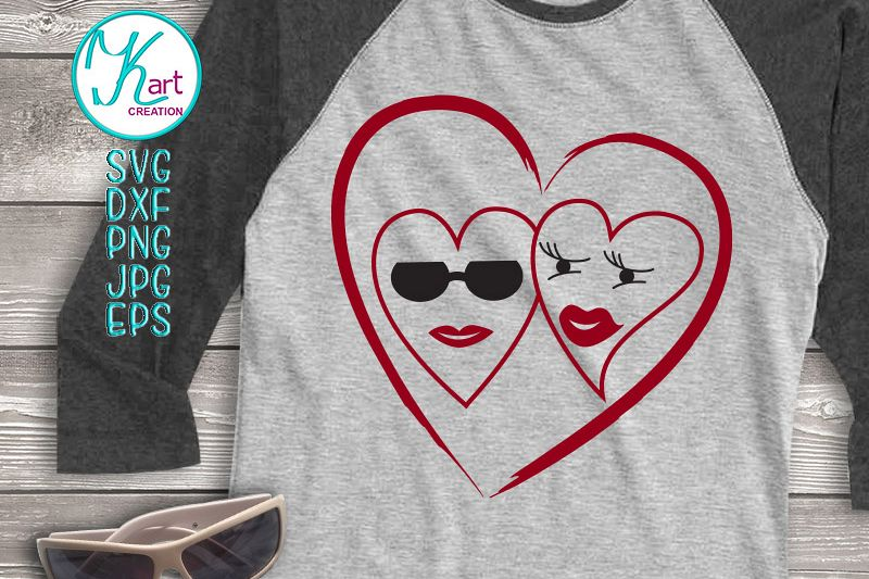 Hippy loving woman man hearts Valentine file svg dxf digital example image 1