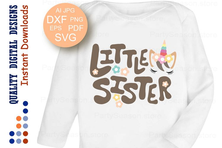 Viewing Product Little Sister SVG Unicorn Birthday Party T Shirt Design