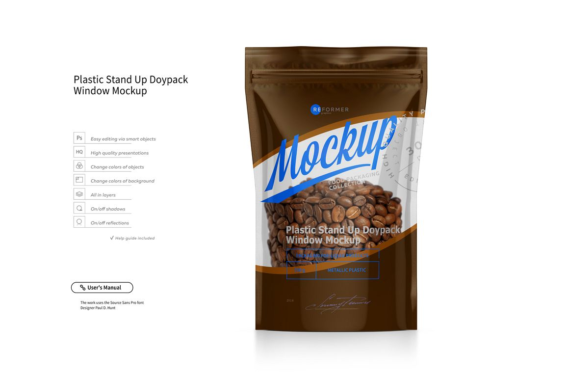 Plastic Stand Up Doypack With Window Mockup example image 1