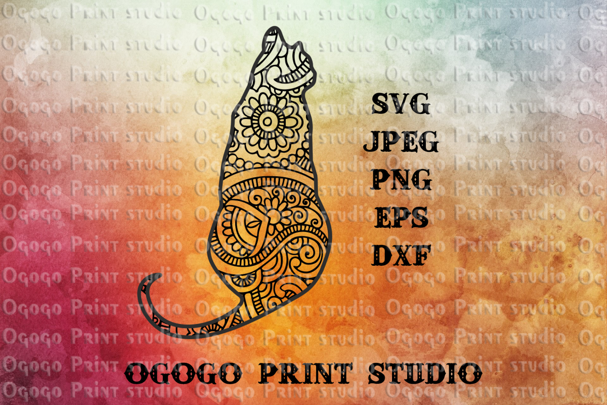 Cat SVG, Zentangle SVG, Pet Svg, Mandala svg, Pet lover svg example image 1