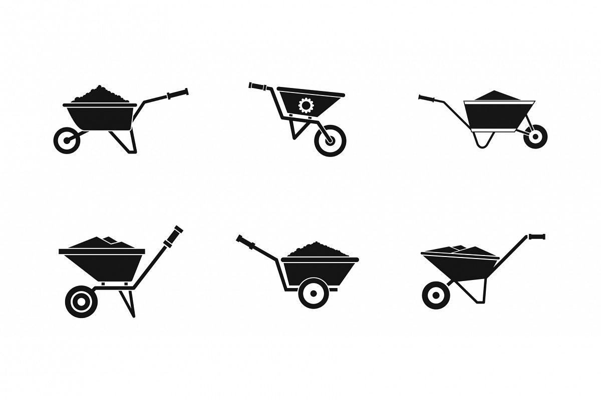Wheelbarrow icon set, simple style example image 1