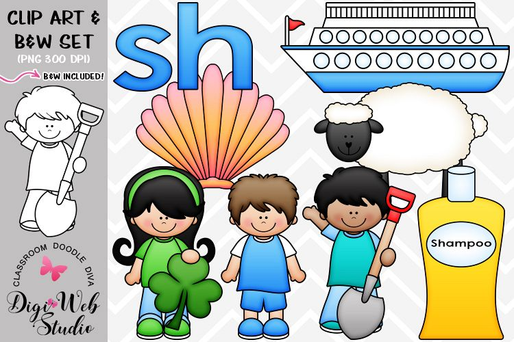 Clip Art / Illustrations - Beginning Digraphs - sh Phonics example image 1