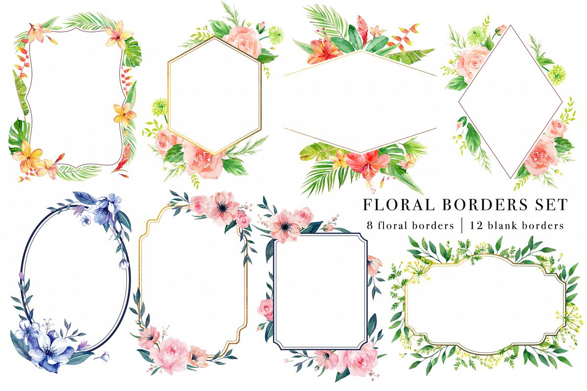 Floral Borders Watercolor Set example image 1