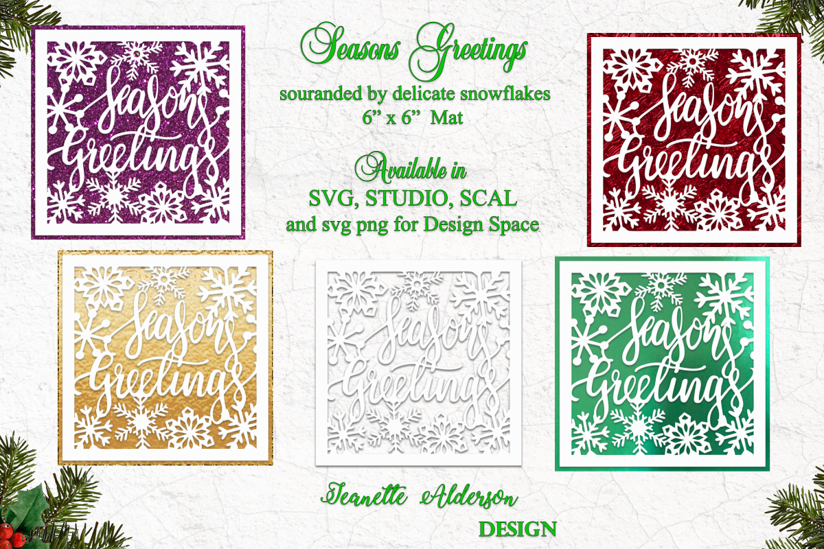 6 x 6 inch mat and topper Seasons Greetings and Snowflakes example image 1