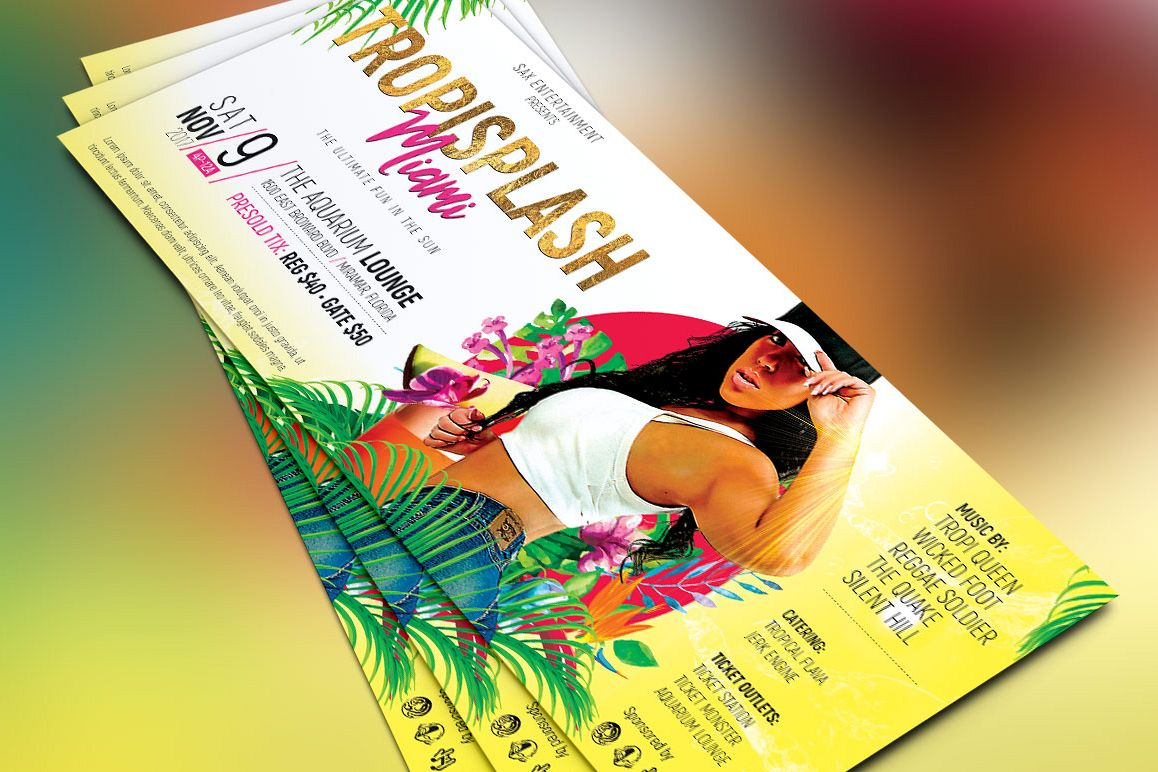 Tropical Party Flyer Template example image 1