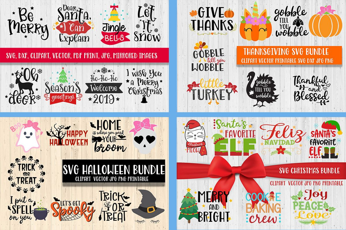 christmas halloween thanksgiving bundle svg dxf clipart example image 1 - Halloween Thanksgiving Christmas