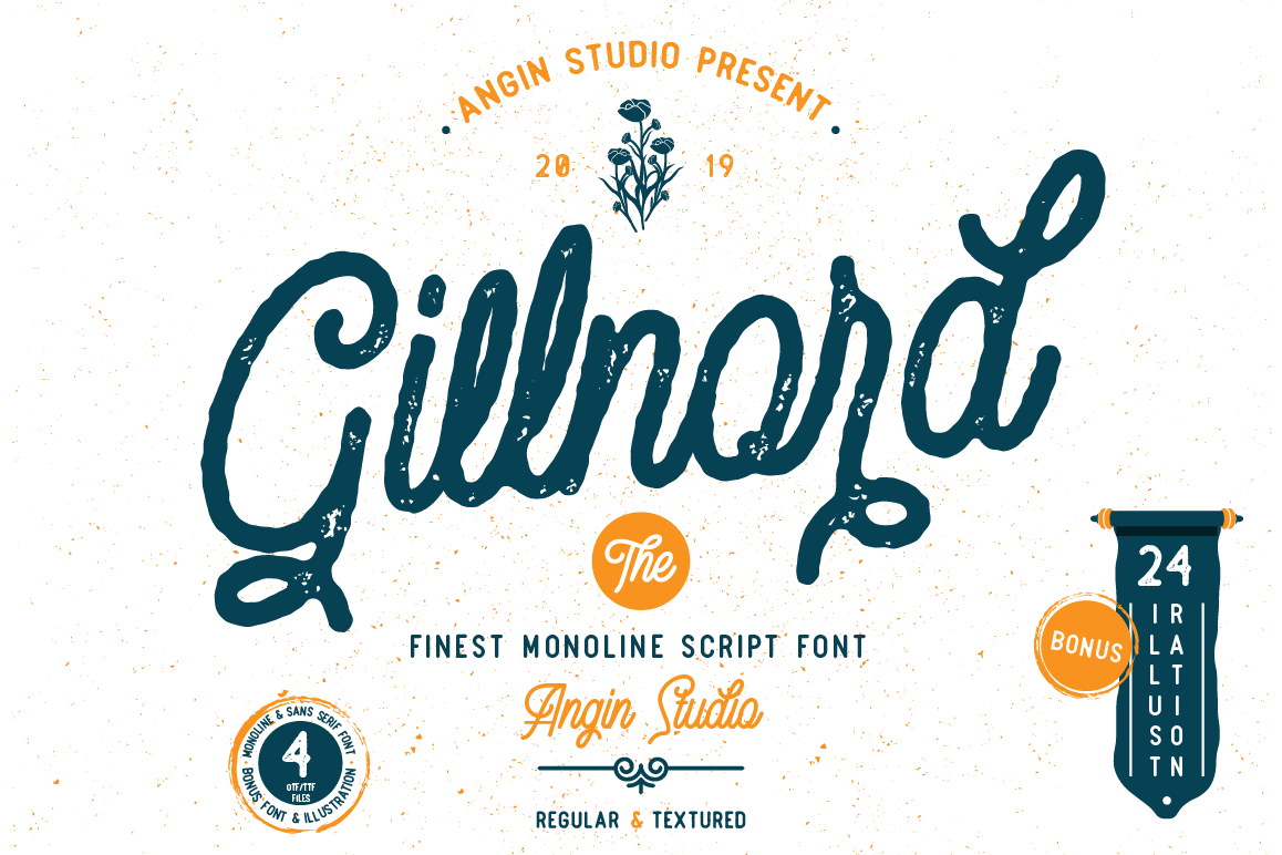 Gillnord Monoline Script extras illustration example image 1