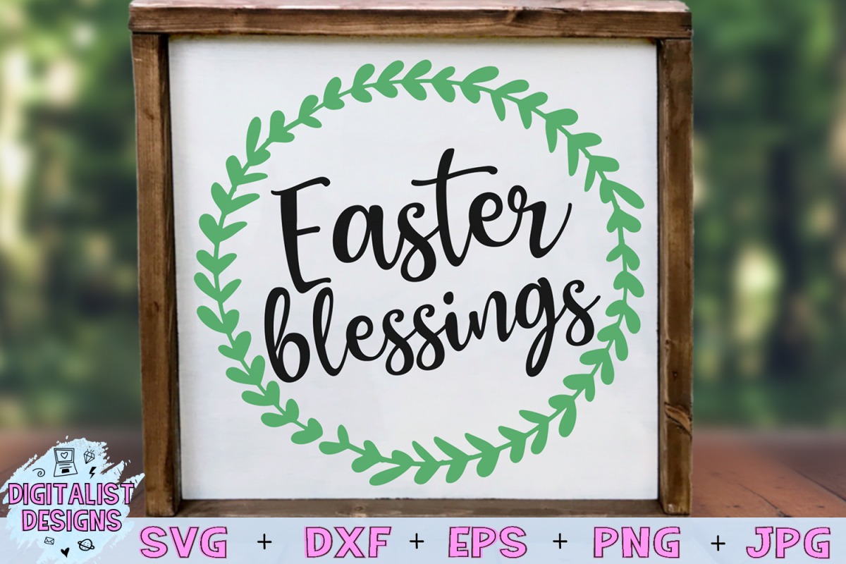 Easter Blessings SVG, Easter SVG, Wreath SVG example image 1