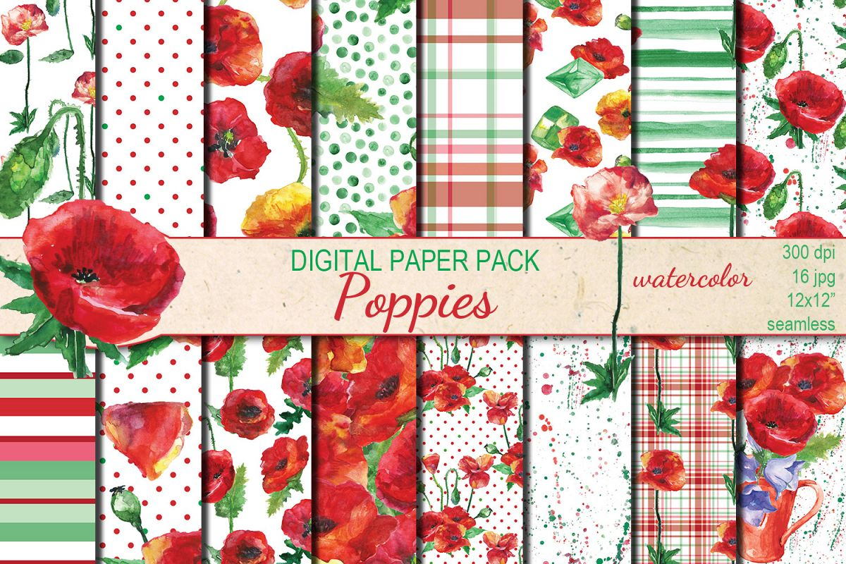 Watercolor Poppies seamless digital paper pack example image 1
