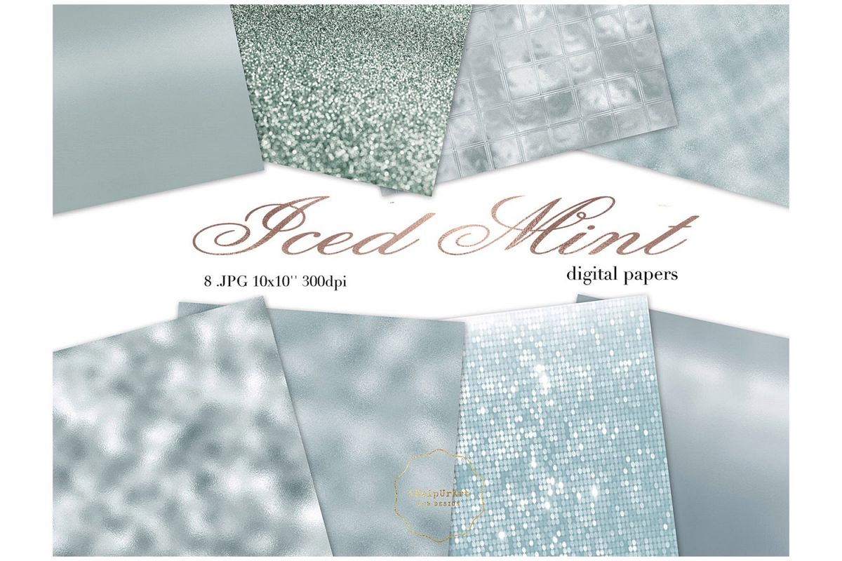 Minty Metallic Texture Papers example image 1