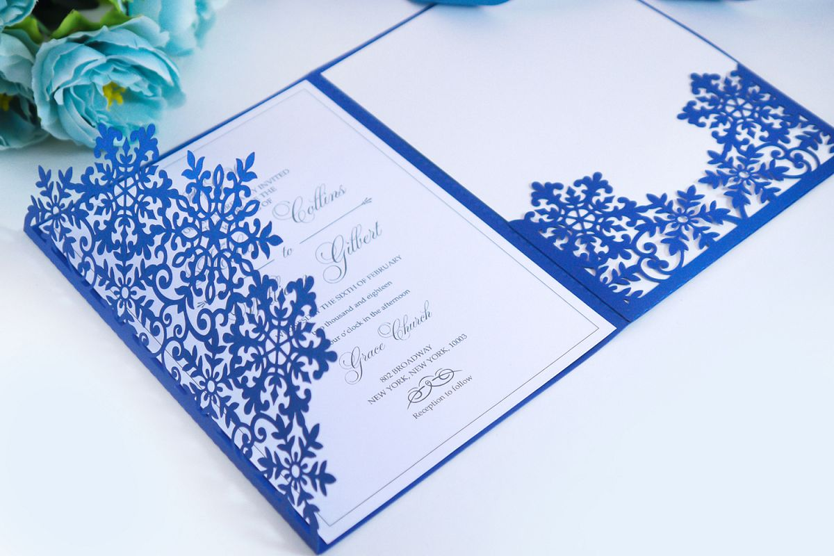 Laser cut wedding invitation, 5x7, Cricut Template, Tri Fold example image 1