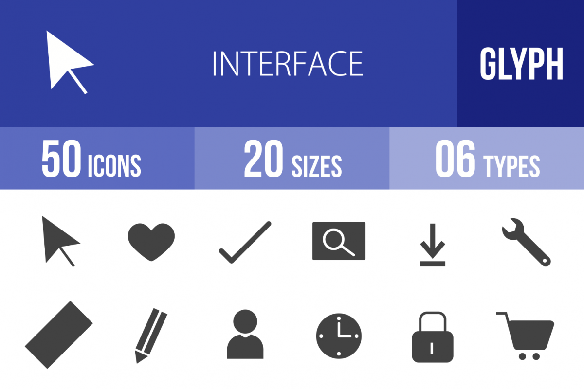 50 Web Interface Glyph Icons example image 1