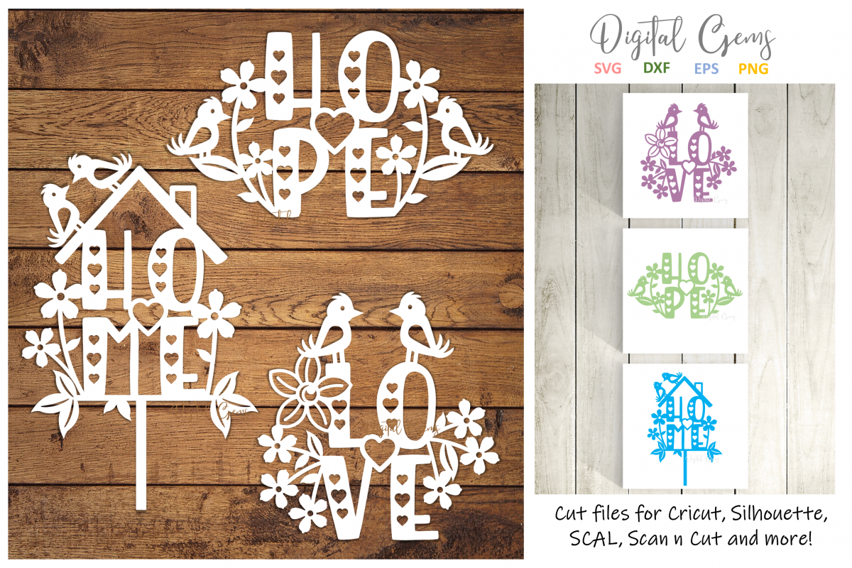 Love, Home, and Hope paper cut designs SVG / DXF / EPS / PNG example image 1