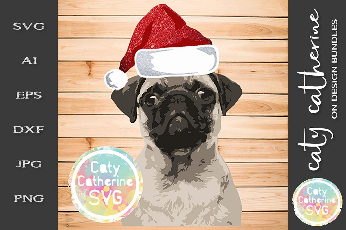 Cute Pug Dog Wearing Santa Hat SVG Cut File example image 1