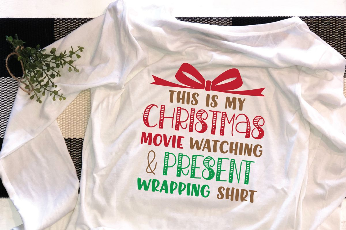 Christmas Movie Watching Shirt SVG DXF Cut File example image 1