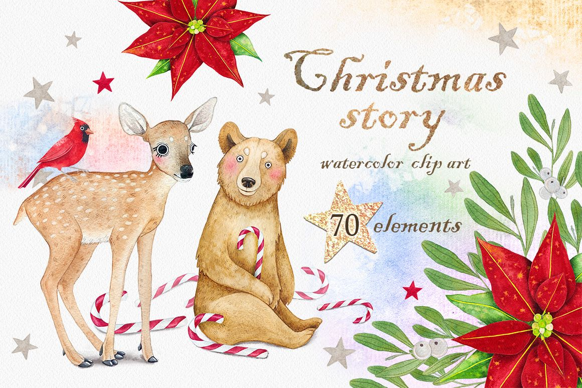 CHRISTMAS STORY watercolor set example image 1