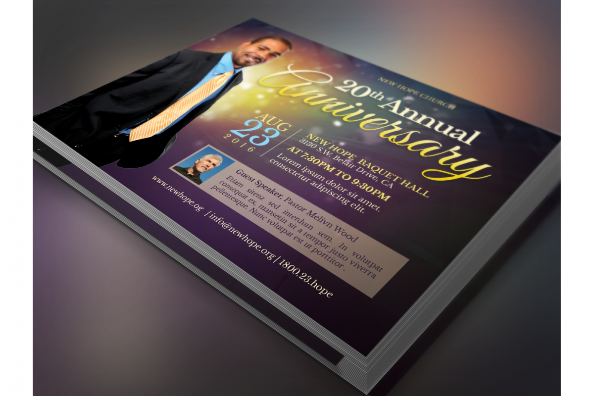 Starlight Pastor Anniversary Flyer Template  example image 1