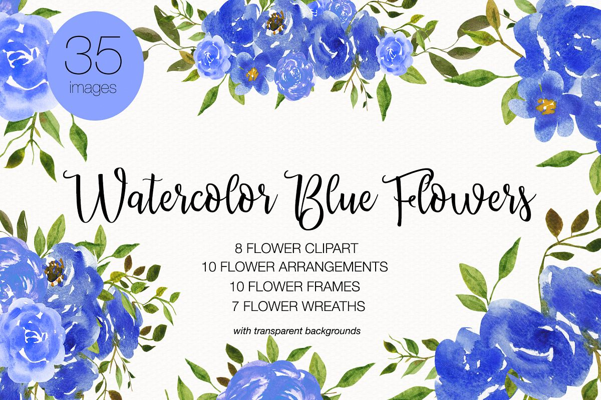 Wedding Clipart Watercolor Flower Clipart Invitation Card