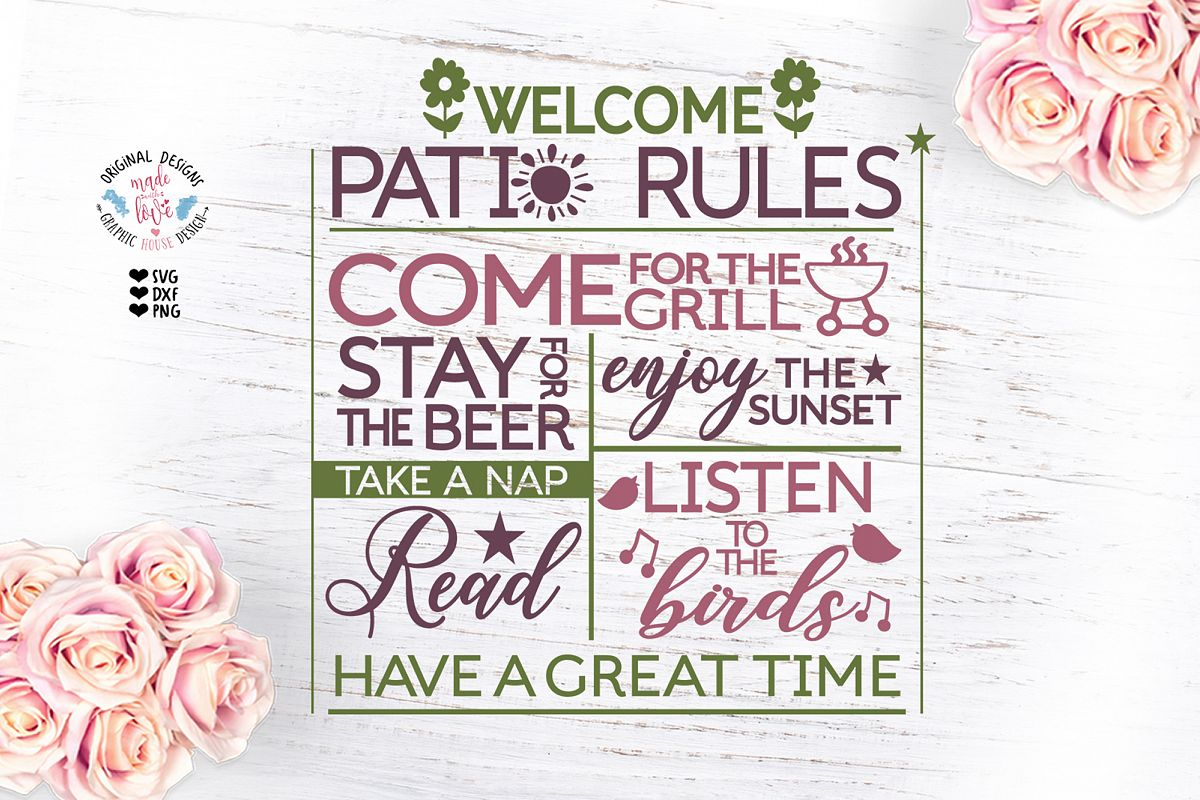Patio Rules Cut File example image 1