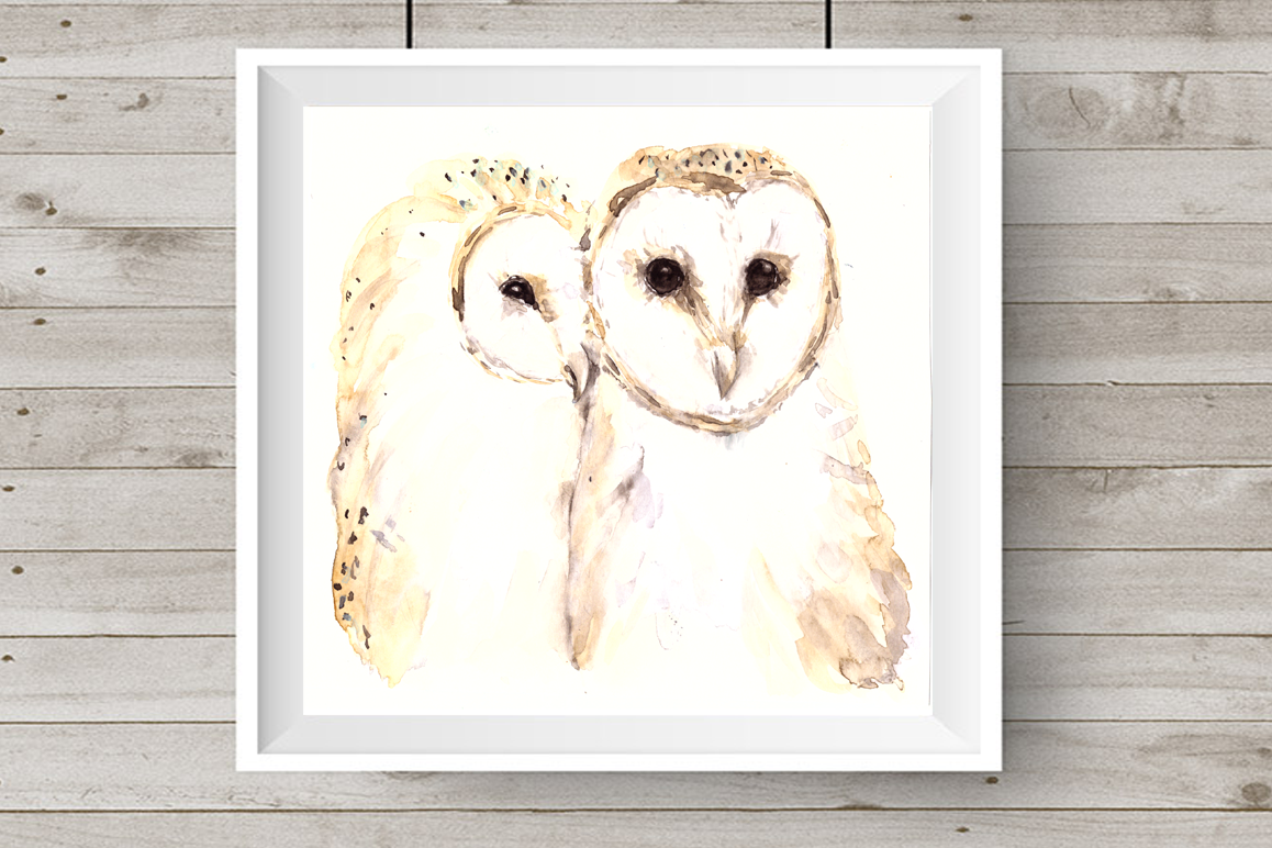 Love and Owls - Watercolor Illustration/Print example image 1