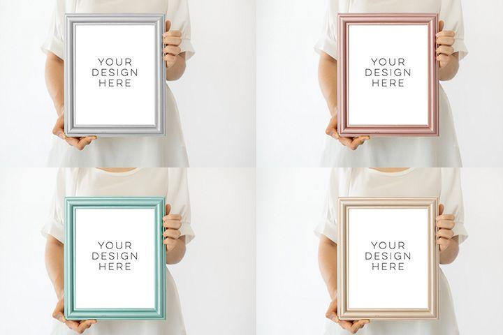 Frame bundle mockup, Collection of Frame, mock up download, modern digital frame, Scandinavian style Product Mockup, Empty Frame Stock Photo example image 1