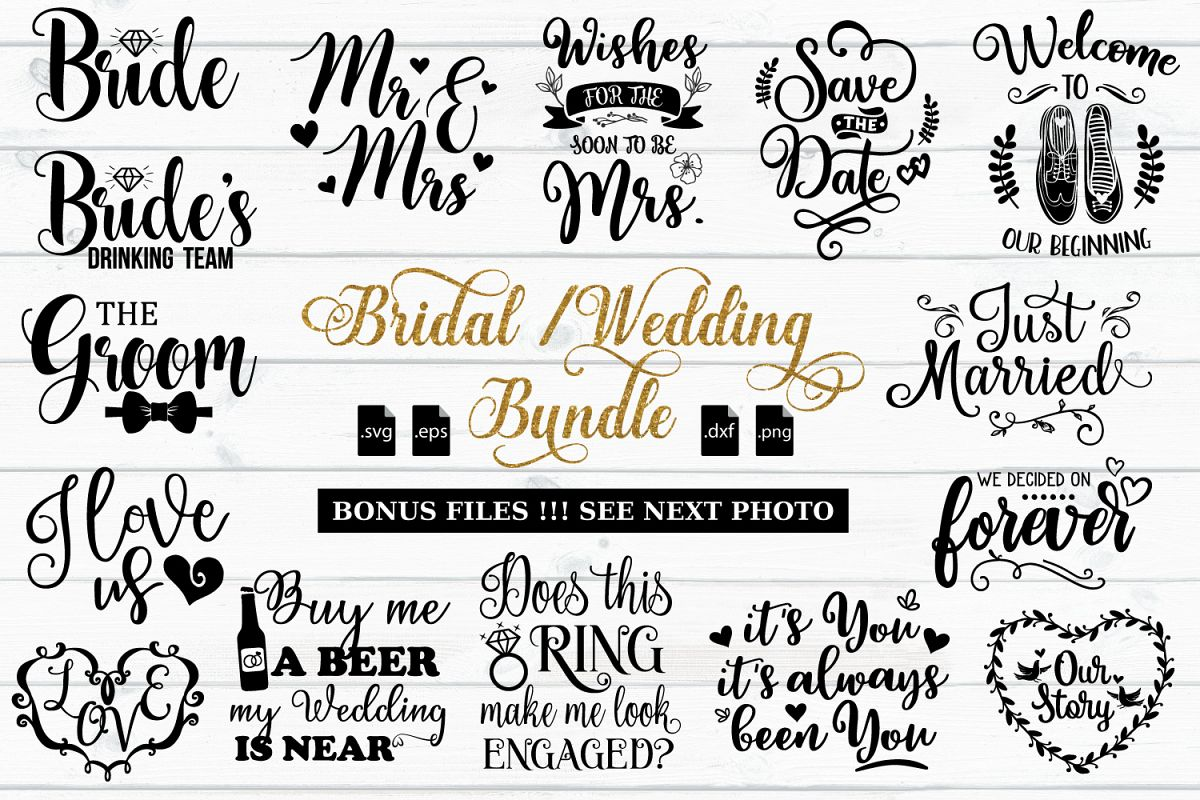 Wedding Quotes: Bridal And Wedding Quotes Bundle -SVG, EPS, DXF, PNG