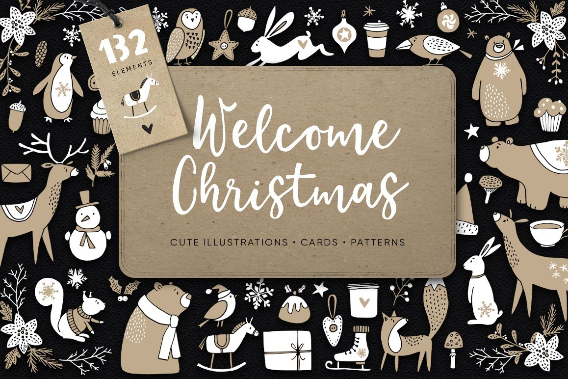 Welcome Christmas Scandinavian illustrations, cards, patterns example image 1