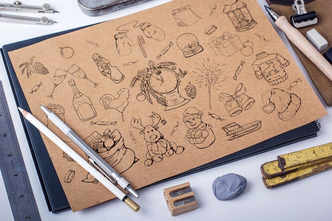 Christmas doodle set + patterns example image 1