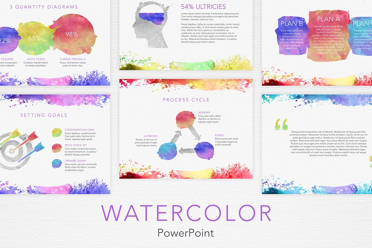 Watercolor PowerPoint Template example image 1