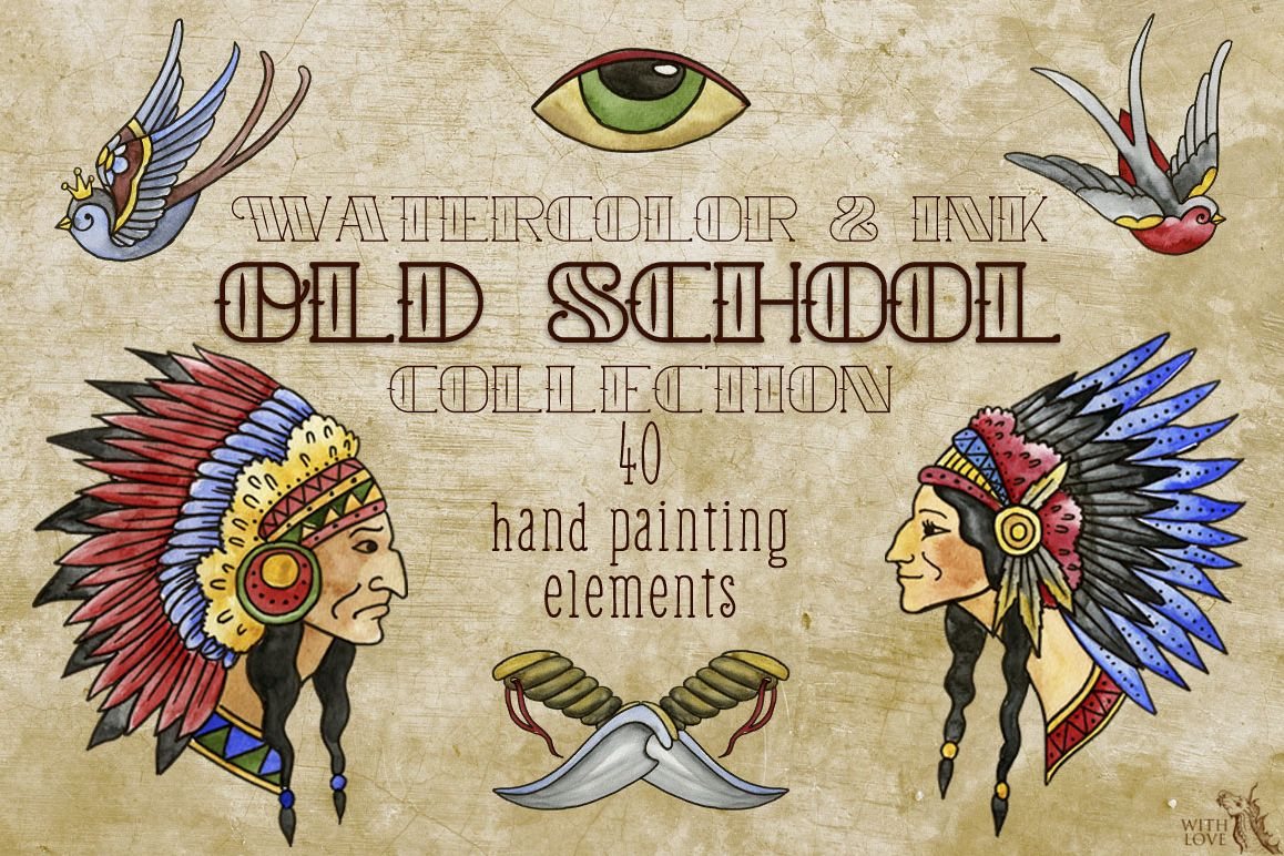 Old School Watercolor & Ink Set example image 1