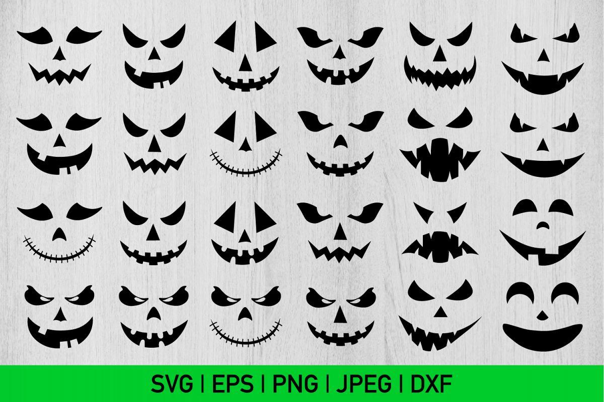 Halloween Faces Bundle Svg, Halloween Bundle Svg, Scary Svg example image 1
