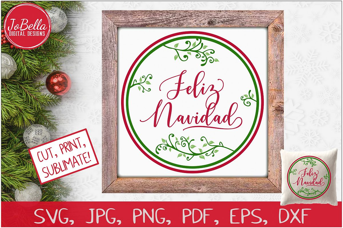 Feliz Navidad SVG Printable & Sublimation PNG example image 1