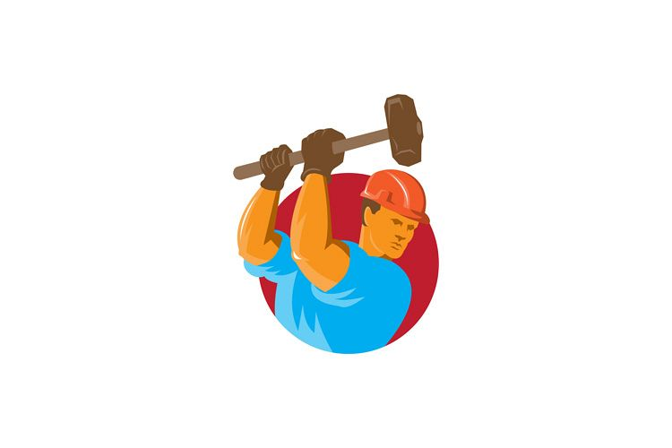 construction worker with sledgehammer example image 1