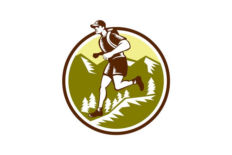 Cross Country Runner Mountains Circle Woodcut example image 1