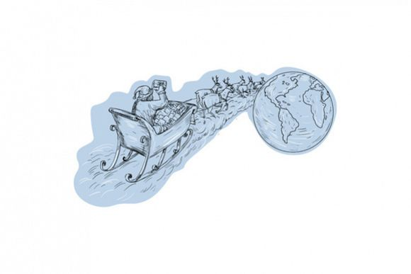 Santa Claus Sleigh Reindeer Gifts Around the World Drawing example image 1