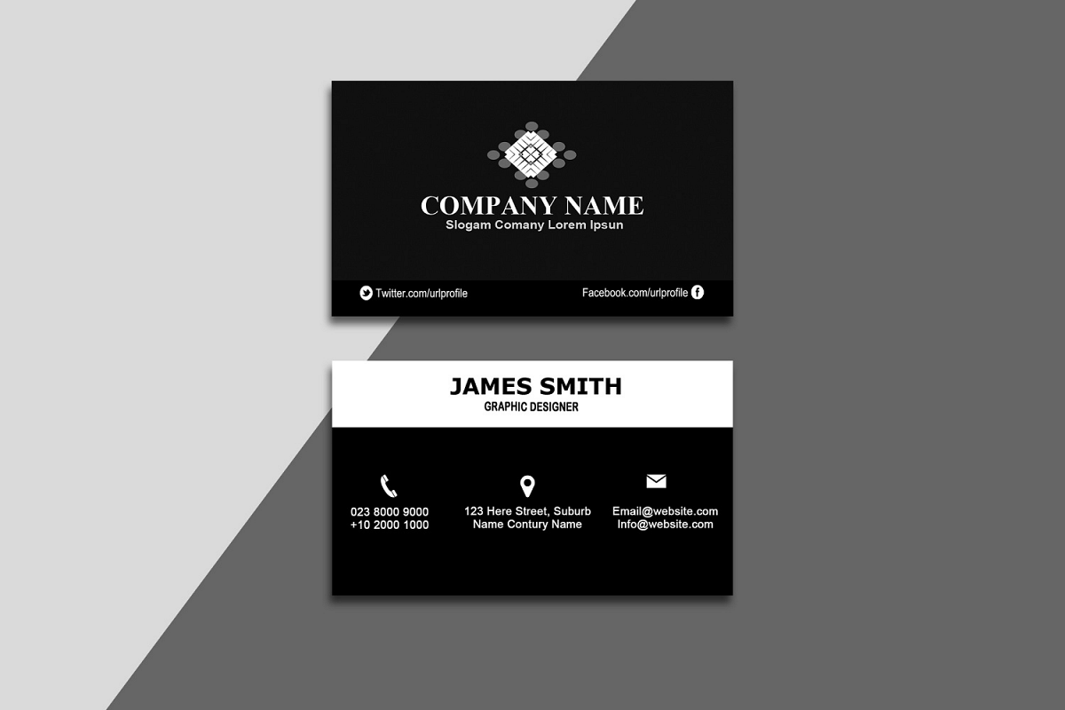 Black & White Business Card example image 1