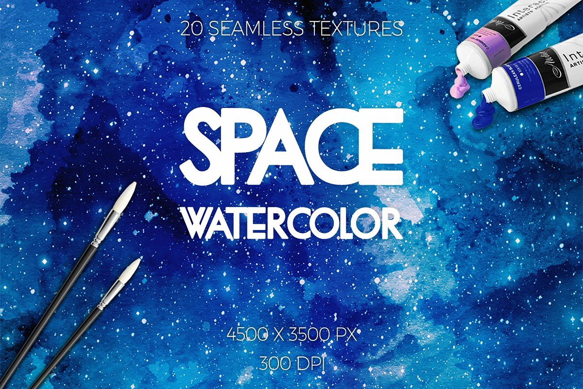 Watercolor Space Seamless Textures example image 1
