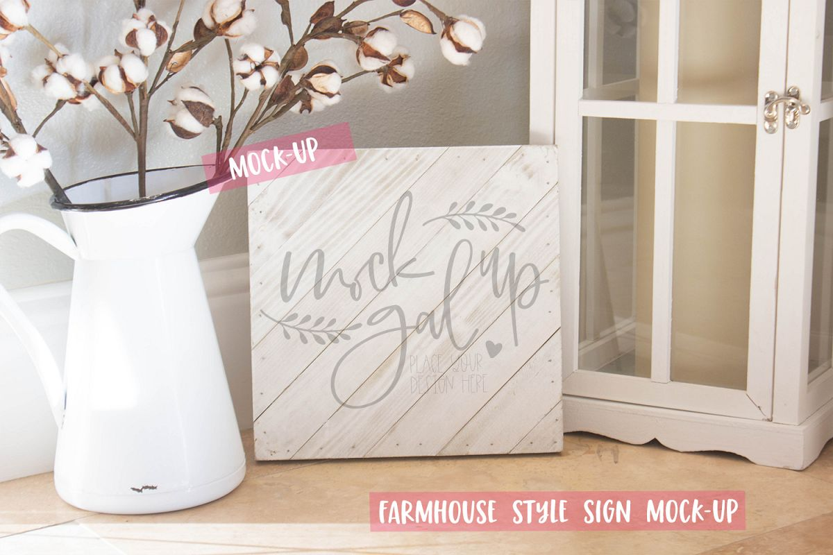 White Square Farmhouse Style Sign Mock-Up No. 5- White Wood example image 1