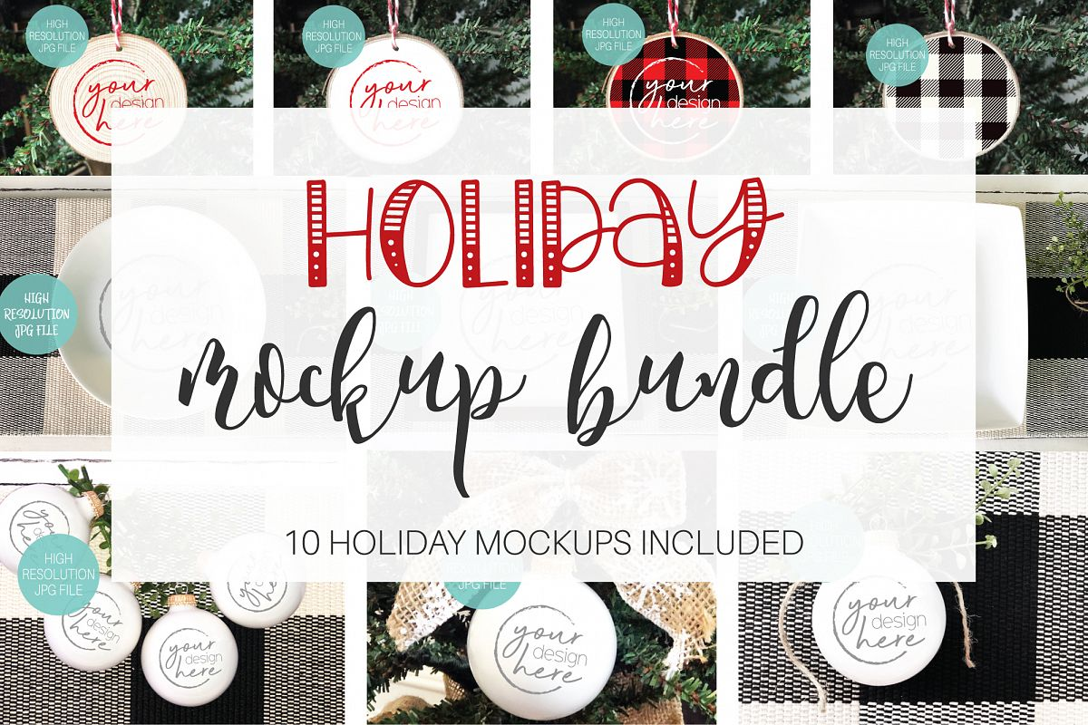 Christmas Holiday Mockup Bundle | 10 Holiday Mockup Bundle example image 1