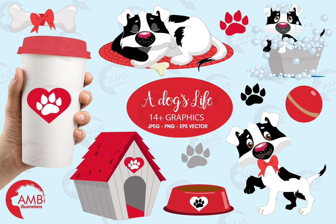 Day in a dog's life clipart, graphics, illustrations AMB-595 example image 1