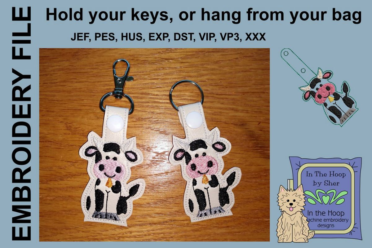 ITH Cow Key Fob - Embroidery Design example image 1