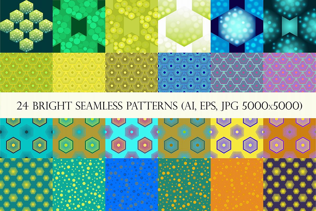 24 bright hexagons seamless patterns example image 1