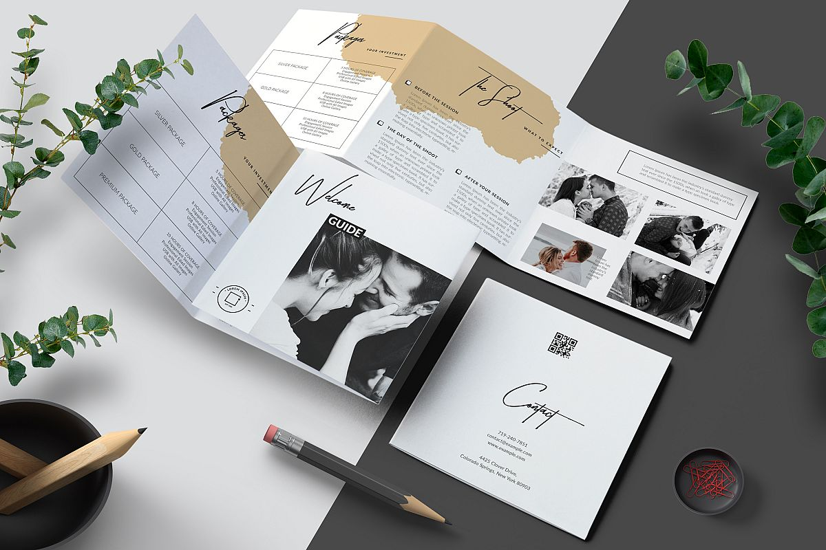 Photographer Square Tri-fold Brochure Template example image 1